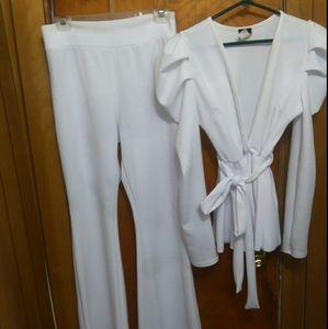 White 2 piece pant suit